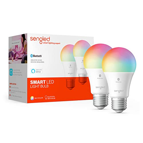 Sengled Smart Light Bulb, Bluetooth Mesh Smart Bulb That Compatible with Alexa Only, Dimmable LED Smart Bulbs, 800LM, Multicolor 2000K-6500K, 8.7W (60W Equivalent), 2 Pack