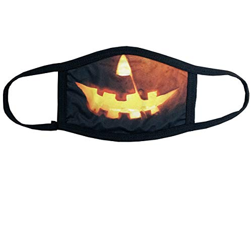 Soft Cotton/Polyester Face Mask - 3 Layer for Outdoors & Travel w/Ear Loops Reusable Covering Funny Costume Printed Graphics (Halloween Jack O Lantern)
