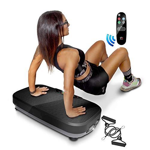 YM Plataforma vibratoria basculante de fitness 2D, adelgazante tonificante y reafirmante, intensidad regulable, programas, pantalla táctil, elásticos Fitness + mando a distancia incluidos, color negro