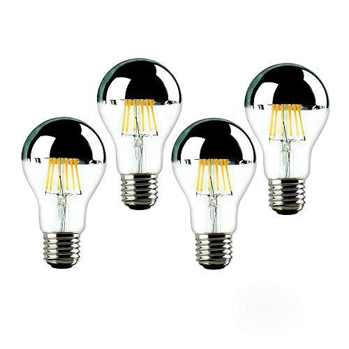 Homeny 4 x Glühbirne Nostalgie Edison Glühlampe A60 8W 220V E27 Warmweiß Filament Tropfen Kopfspiegellampe Glühfaden Kopfspiegel Antik klare LED dimmbar Beleuchtung Energiesparlampen