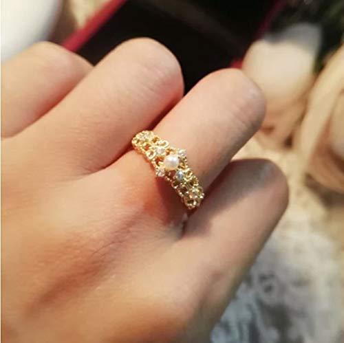 YOYOYAYA Anello Gioielleria Femmina S925 Argento Diamante Intarsiato Perla Dorare Ragazza Data Squisita Dono,Sette