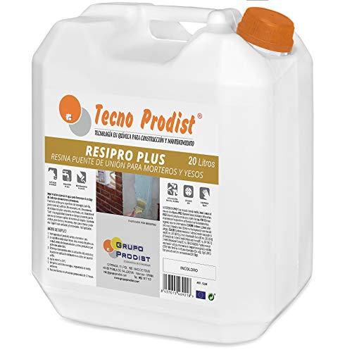 RESIPRO PLUS de Tecno Prodist - (20 Litros) Resina puente de unión, adhesivo al agua, gran adherencia entre hormigones, morteros y yesos viejos con nuevos - Ideal para reparación de cornisas