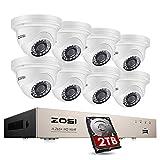ZOSI 5MP Kit de Cámara Seguridad PoE 8CH H.265+ Grabador NVR PoE + (8) Cámara de Vigilancia PoE Exterior, Visión Nocturna, Detección de Movimiento, 2TB Disco Duro