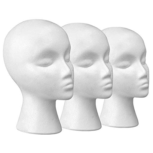 """11"""" 3 Pcs Styrofoam Wig Head - Tall Female Foam Mannequin Wig Stand and Holder for Style, Model And Display Hair, Hats and Hairpieces, Mask - for Home, Salon and Travel"""