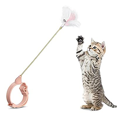 PetBOYA Interactive Cat Toys for Indoor Cats - Kitten Toys Cat Feather Wand with Collar Cat Supplies Natural Feather Teaser with Bell Self Play for Kitty Old Young Cat Exercise from PetBOYA