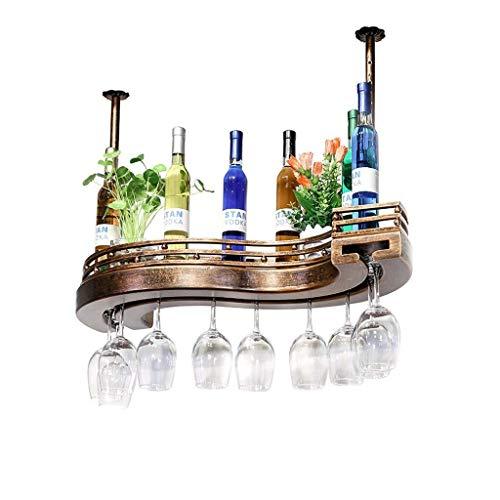 POETRY Estante para Vino American Retro Industrial Colgante Madera en Forma de S Estantes para Copas de Vino Barra Creativa para el hogar Portavasos al revés Estante para Vino Estante Champagne Win