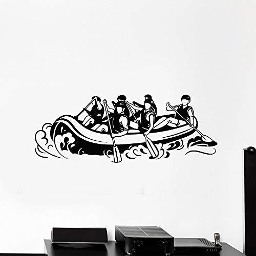 jiushivr Extreme Rafting Vinyl Wandtattoo Wohnzimmer Legierung Kajak Sport Rudern Wandaufkleber Fitness Center Klassenzimmer Dekoration 30x77cm
