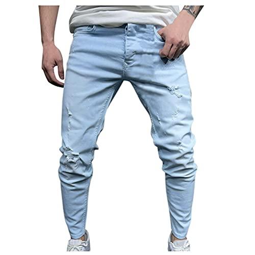 YONGYA Jean pour homme en coton coupe bootcut denim noir slim fit stretch pantalon de loisirs pantalon de jogging pantalon de vélo pantalon de travail pantalon de randonnée, Bleu (164), XXXL