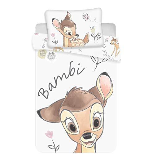 Parure de lit pour enfant Disney III 2 pièces 100 % coton 40 x 60 + 100 x 135 cm avec fermeture Éclair (Bambi)