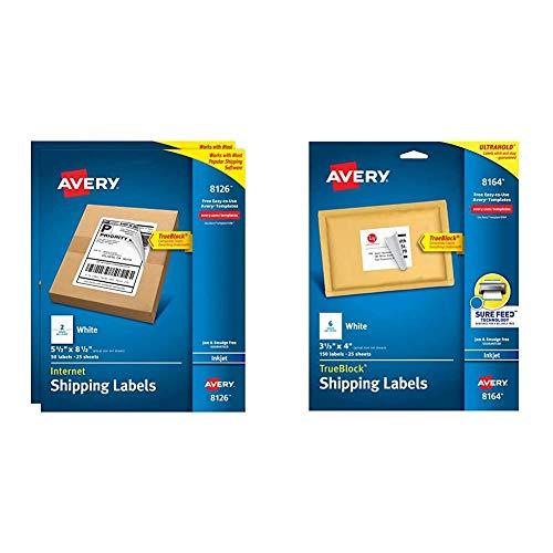 Avery Shipping Address Labels, Inkjet Printers, 100 Labels, Half Sheet Labels, TrueBlock (2-Pack 8126) & Shipping Address Labels, Inkjet Printers, 150 Labels, 3-1/3x4 Labels, TrueBlock (8164), White
