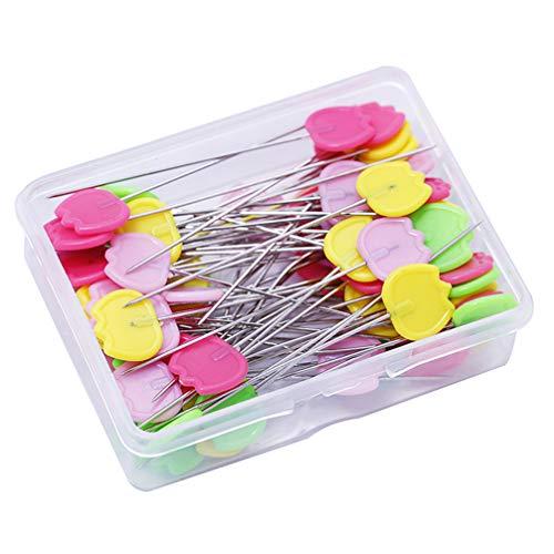 SUPVOX 50 piezas de cabeza plana de colores alfileres de alfileres de costura con accesorios de ropa de caja aguja para acolchar decoración artesanal
