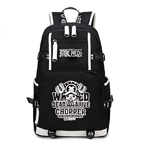 JJZZ Anime Backpack Schüler Schultasche Laptop Rucksäcke Freizeittasche Daypack. One Piece Chopper, schwarz, 48 * 32 * 18 cm