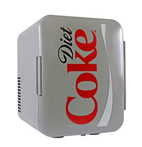 Koolatron Coca Cola Diet Mini Fridge 4 Liter/6 Can Portable Fridge/Mini Cooler for Food, Beverages, Skincare -Use at Home, Office, Dorm, Car, Boat-AC & DC Plugs Included, Red, grey, DC04 UK