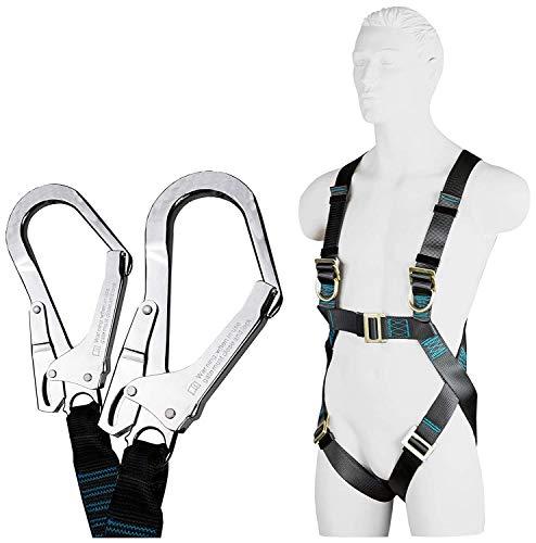 ACE Safety Kit di Protezione Anticaduta - Imbracature & Cordini a Fune con Assorbitore di Energia 1.5 m - Ancoraggio Fissato a Distanza - Certificato a EN361 EN353 EN8513 - Limite di Peso 100 kg