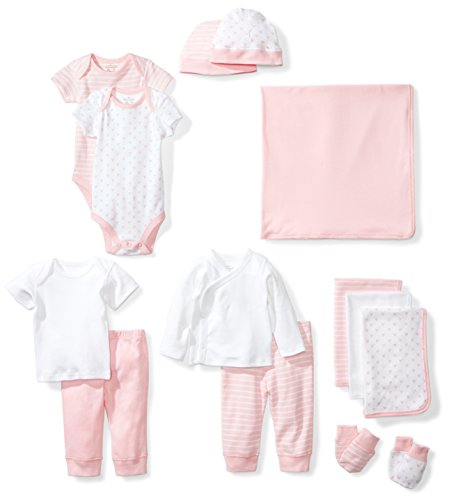 Moon and Back Baby 14-Piece Organic Playtime Gift Set, Pink Blush, 6-9 Months