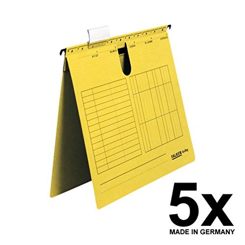 Original Falken 5er Pack Hängehefter UniReg. Made in Germany. Kaufmännische Heftung, aus Recycling-Karton für DIN A4 gelb Blauer Engel ideal für die lose Blatt-Ablage im Büro und der Behörde