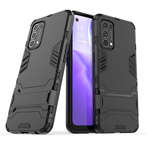 NOKOER Funda para OPPO Find X3 Lite, 2 in 1 PC + TPU Cover, A Prueba de Golpes Telefono Movil Funda [A Prueba de Polvo] [Huella Digital Anti] - Negro