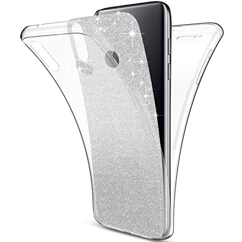 Herbests Compatibles con Huawei P Smart 2019 Cubierta, Funda [Thin Fit] Protección Completa 360 ° en un Ajuste Perfecto de 2 Piezas Premium Material TPU Silicona Case Cover,Silver