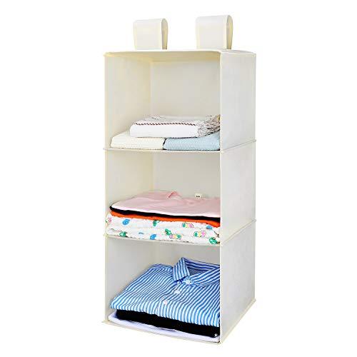 MaidMAX 3-Shelf Organizer Armadio, Portatutto da Appendere per Armadio in Tessuto, Scomparti per Armadio per Abbigliamento, Maglioni, Bagagli, Accessori, Organizzatore Pensile, Beige