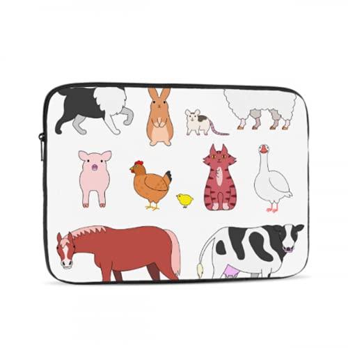 Maletín para Ordenador portátil, Conjunto de Caras de Animales de Granja de Cadera, Funda para Ordenador portátil de Oficina, maletín para Tableta, maletín de Transporte para ofici