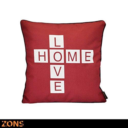 Zons Word Coussin Look Design Rouge 45x45cm + Rembourrage 480g Coussin Voiture Coussin canapé Oreiller (6 Design) (Love Home)