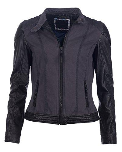 Mustang Leather Damen Jacke MU-W14-Feni Echtleder, Gr. 40 (Herstellergröße: L), Mehrfarbig (black/grey-blue)