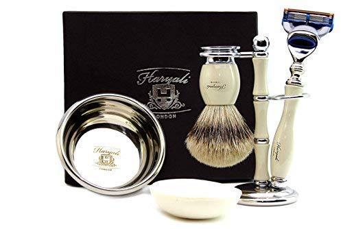 Ivoor Colour Shaving Set Voor Heren Wordt geleverd met een Pure Sliver Tip Badger Haar, Borstel Stand, RVS Bowl en gratis Zeep. Perfect als cadeau voor deze kerst.