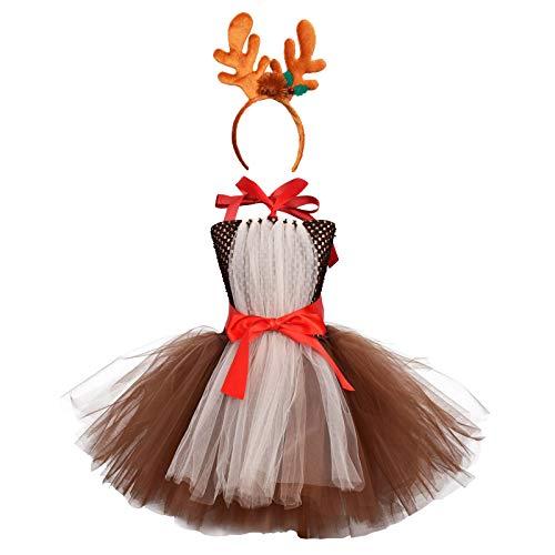 IBAKOM Disfraz de Pap Noel para beb, 2 piezas, vestido de princesa con cinta para la cabeza Braun 1 6-12 Meses