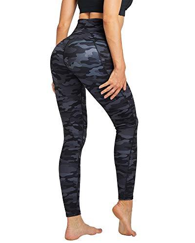COOLOMG Women's High Waist Yoga Pants Compression Running Tights Sports Leggings Non See-Through Side Pockets Camo_Black, Medium