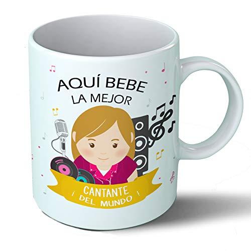 Planetacase Taza Desayuno Aquí Bebe la Mejor Cantante del Mundo Regalo Original Cantantes Ceramica 330 mL