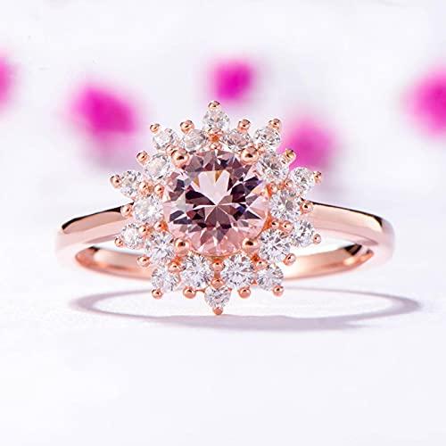 N\C Morganit Edelsteinringe für Frauen 925 Sterling Silber Rundschnitt Erstellt Stein Roségold Ring HochzeitFeinschmuck
