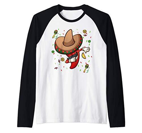 Funny Chili Dabbing Hot Pepper Sombrero Cinco de Mayo Party Camiseta Manga Raglan