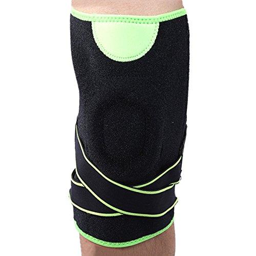Panegy rembourré résistant aux chocs pour le genou manches Genouillère élastique réglable bidirectionnel pour entraînement de basketball, Homme femme mixte, Green