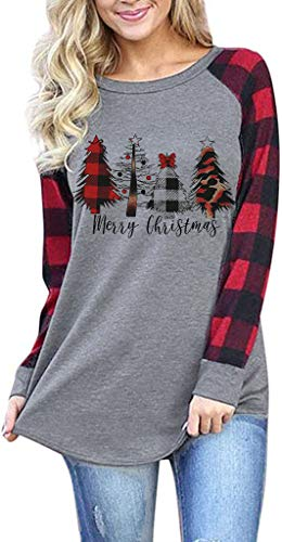 Merry Christmas Shirt Plaid Leopard Christmas Tree Graphic Tee Buffalo Splicing Long Sleeve Baseball Tshirt Top (Grey-1, M)