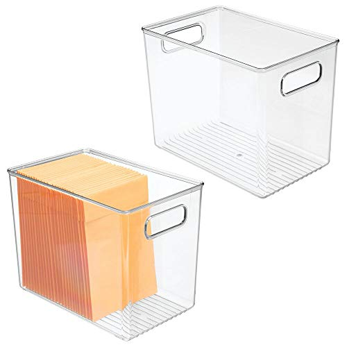 mDesign Plastic Home Office Storage Organizer Bin with Handles - Container for Cabinets Drawers Desks Workspace - for Pens Pencils Highlighters Notebooks - 2 Pack - Clear