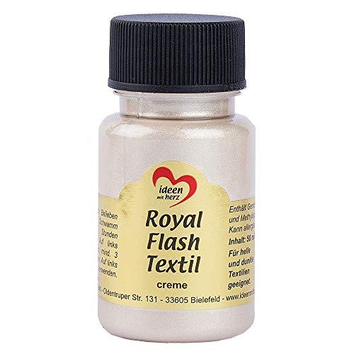Royal Flash Textil, Glitzer-Metallic-Farbe | hochdeckend, cremige Textilfarbe auf Wasserbasis | für helle und dunkle Textilien | 50 ml (creme)