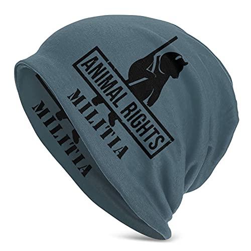 Adult Knit Hat Animal Rights Militia Beanie Hat Printing Skull Cap for Women Men