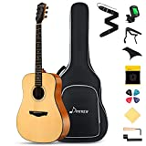 Donner DAD-812 Solid Top Acoustic Guitar Full Size, 41' Dreadnought Guitar Bundle with Gig Bag Tuner Capo Picks Strap String