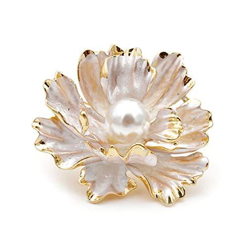 WANGJBH Trockenblumen Emaille Pfingstrose Blumen Broschen für Frauen Hochzeit Mode Perle Pins Elegant Mantel Zubehör Geschenk Künstliche Blume (Metal Color : White)