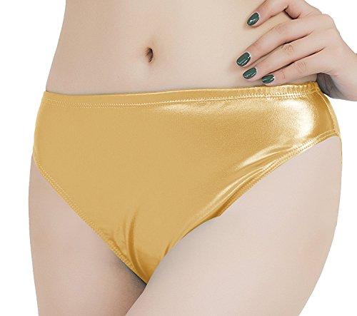 speerise Adult Shiny Metallic Dance Panty Underwear Performance Briefs, Gold, M