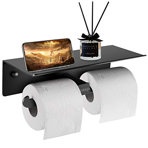 Portarrollos de papel higiénico montado en la pared con rollos dobles para todo tipo de papel higiénico, titular de pañuelos con amplio estante para cocina y baño (negro)