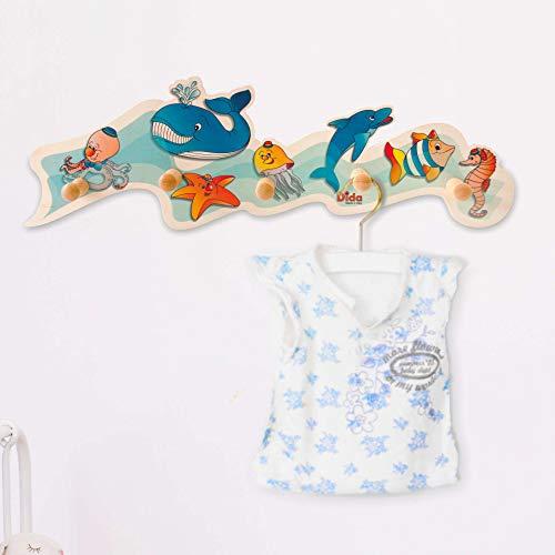 Dida - Porte-Manteaux Enfant – Animaux Marins - Porte Manteau Mural en Bois pour Chambres d'enfant et bébé