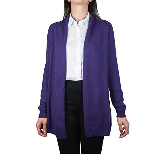 Cardigan Donna Lungo in 100% Puro Cashmere, Senza Bottoni- Made in Italy (Viola, S)
