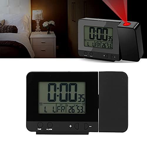 CUTULAMO Reloj Despertador de proyección Digital, Cargador USB Suministros para el hogar Reloj de Temperatura Reloj Despertador Reloj de proyección Reloj multifunción para dormitorios domésticos