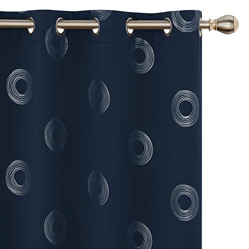 UMI by Amazon Cortinas Opacas Decorativas con Motivos Roquillos con Ojales 140x245cm Azul Marino