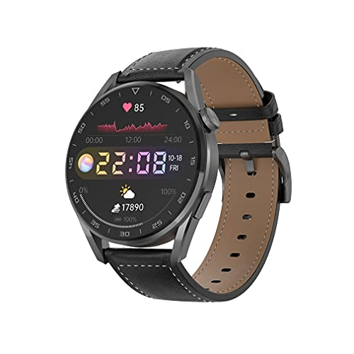 Reloj inteligente DT3 1.36 pulgadas IP68 Impermeable ECG PPG Frecuencia cardíaca 390 * 390 HD Reloj de bricolaje Llamada facial Música Reloj inteligente para Anodrid IOS (correa de cuero negro)