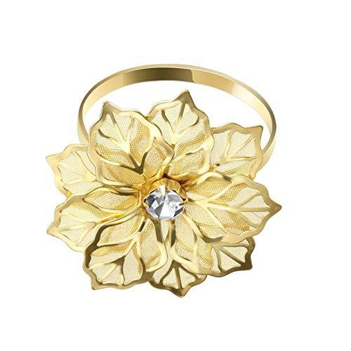 Anelli portatovaglioli in geranio con fiore intagliato, portatovaglioli dorati, decorazione per la casa, matrimonio, vacanze, f