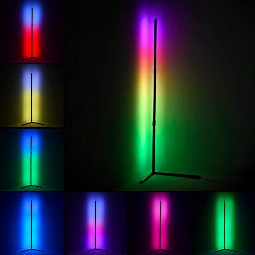 LED Stehlampe Dimmbar RGB mit Fernbedienung 20W Stehleuchte 50inch für Wohnzimmer Schlafzimmer Farbwechsel Lichtsaeule Farbtemperaturen und Helligkeit Stufenlos Dimmbar (Rechter Winkel)