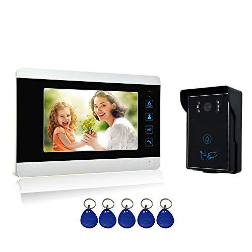 """Nudito Kit Timbre de Puerta para Casa, Videoportero Universal (1 Monitor LCD de 7"""" con Botón Táctil, 1 Cámara Infrarroja Exterior Impermeable con Visión Nocturna. Desbloquear con Tarjetas de RFID)"""