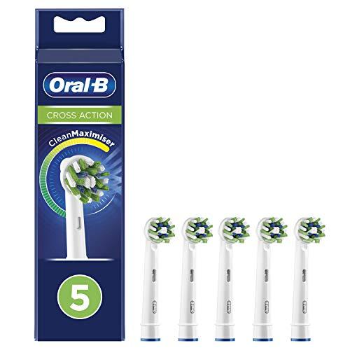 Oral-B CrossAction Testine di Ricambio per Spazzolino Elettrico con Tecnologia CleanMaximiser, Confezione da 5 Pezzi, Idea Regalo Natale